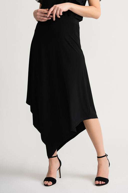 Joseph Ribkoff Style 202373 Black Slip-On Kerchief Hem Maxi Skirt