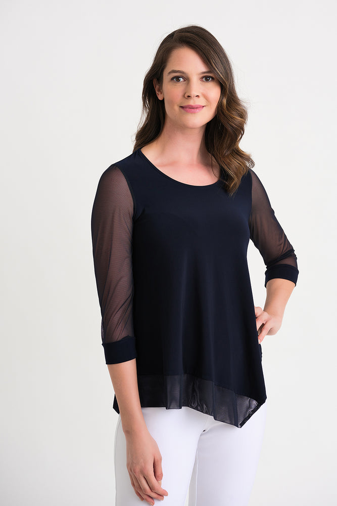 Joseph Ribkoff Style 202383 Midnight Blue Layered Sheer Sleeve Asymmetric Hem Blouse
