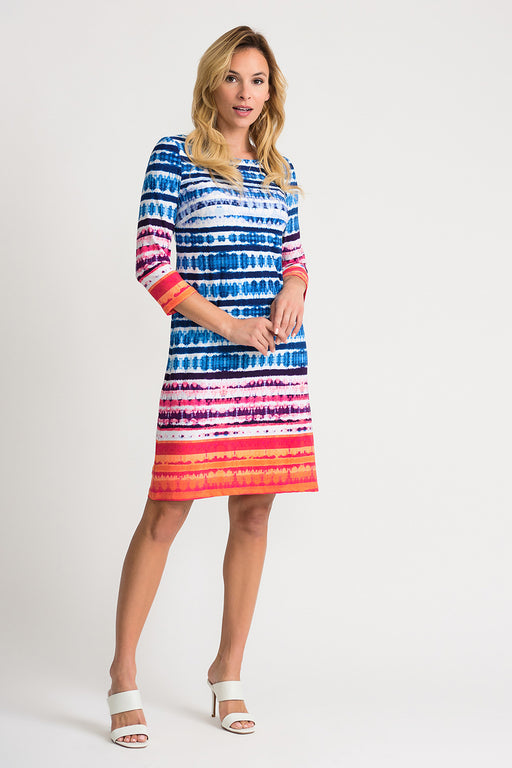 Joseph Ribkoff Style 202388 Multicolor Striped Abstract Print 3/4 Sleeve Shift Dress
