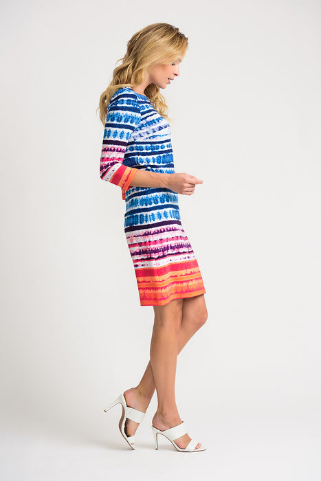 Joseph Ribkoff Multi Striped Abstract Print 3/4 Sleeve Shift Dress 202388 NEW