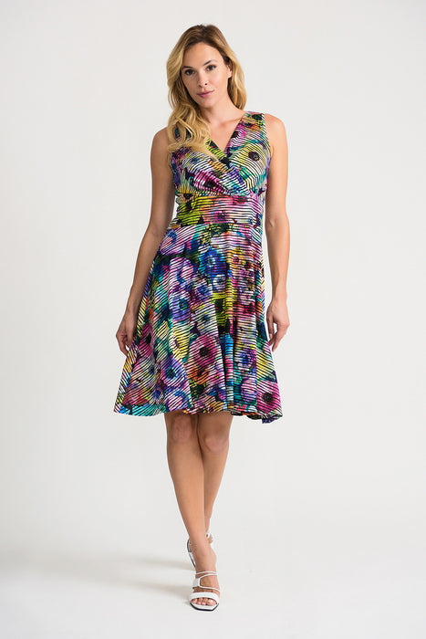 Joseph Ribkoff Style 202389 Black Multicolor Floral Striped Sleeveless Fit And Flare Dress