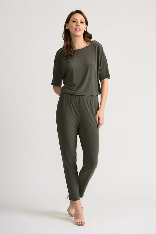 Joseph Ribkoff Style 202397 Avocado Boat Neck Billowed Straight Leg Jumpsuit