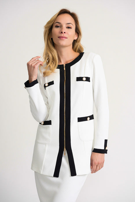Joseph Ribkoff Style 202414 White/Black Textured Long Sleeve Zip-Up Jacket