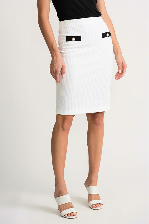 Joseph Ribkoff Style 202417 Vanilla Black Faux Pocket Detail Slip-On Pencil Skirt