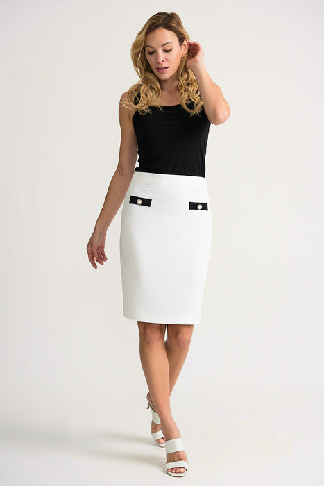 Joseph Ribkoff Vanilla/Black Faux Pocket Detail Slip-On Pencil Skirt 202417 NEW
