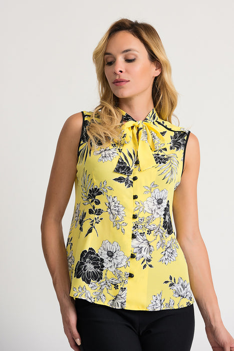 Joseph Ribkoff Style 202418 Sunshine Black Floral Print Pussy Bow Button-Down Top