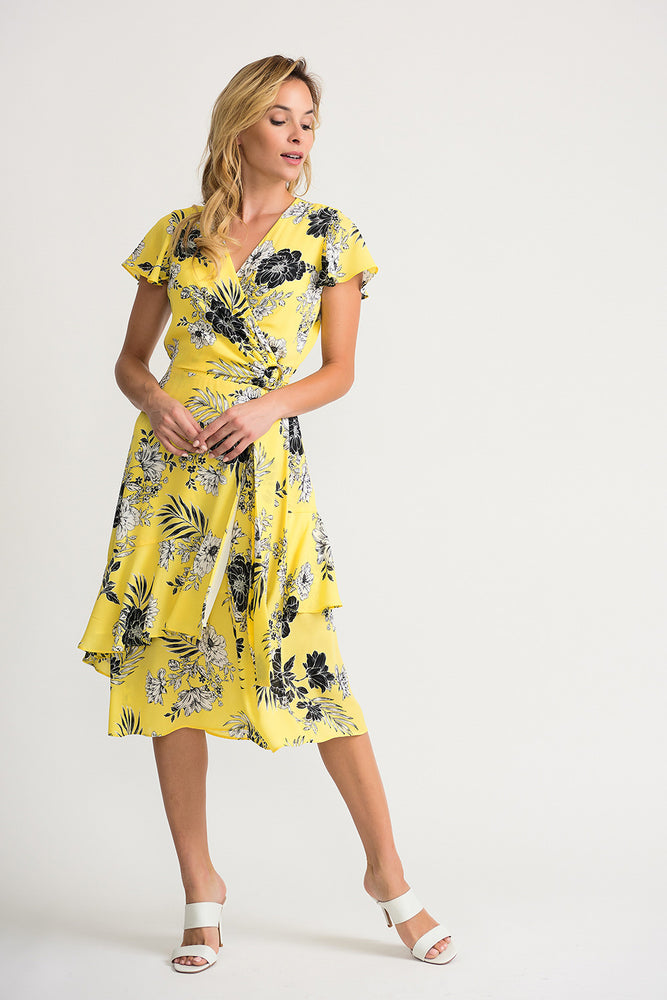 Joseph Ribkoff Style 202425 Sunshine Black Floral Print Ruffled Wrap Dress