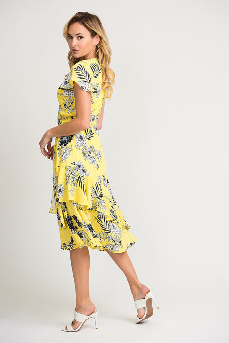Joseph Ribkoff Sunshine/Black Floral Print Ruffled Wrap Dress 202425 NEW