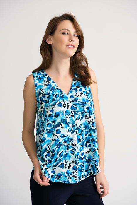 Joseph Ribkoff Style 202434 Blue Multicolor Watercolor Print Pleated V-Neck Sleeveless Camisole