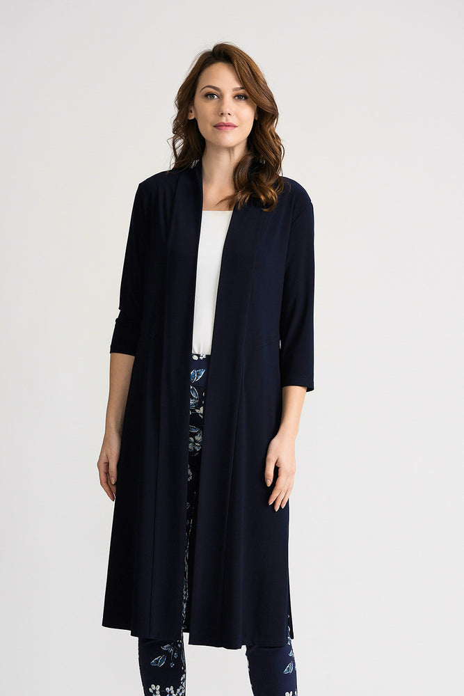 Joseph Ribkoff Style 202445 Midnight Blue 3/4 Sleeve Open Front Long Cardigan
