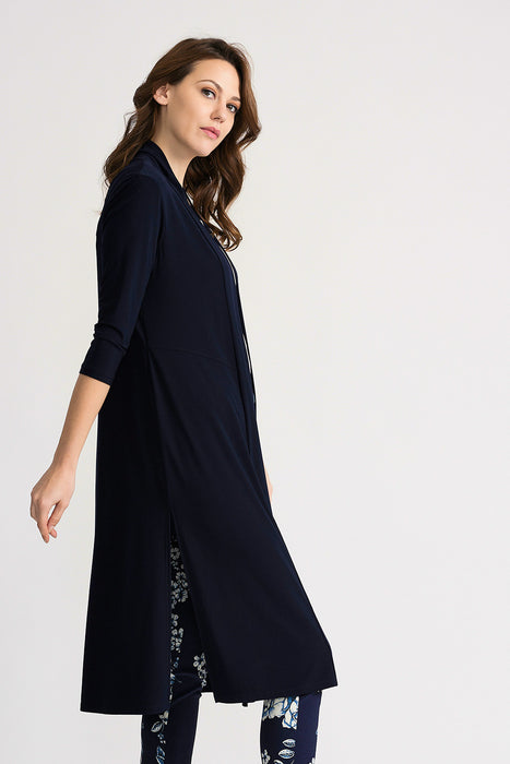 Joseph Ribkoff Midnight Blue 3/4 Sleeve Open Front Long Cardigan 202445 NEW
