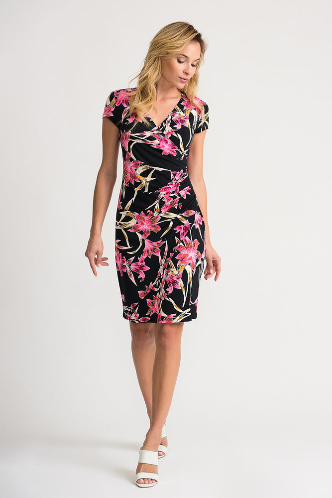 Joseph Ribkoff Style 202450 Black Multicolor Floral Print Ruched Mock-Wrap Sheath Dress