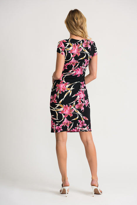 Joseph Ribkoff Black/Multi Floral Print Ruched Mock-Wrap Sheath Dress 202450 NEW
