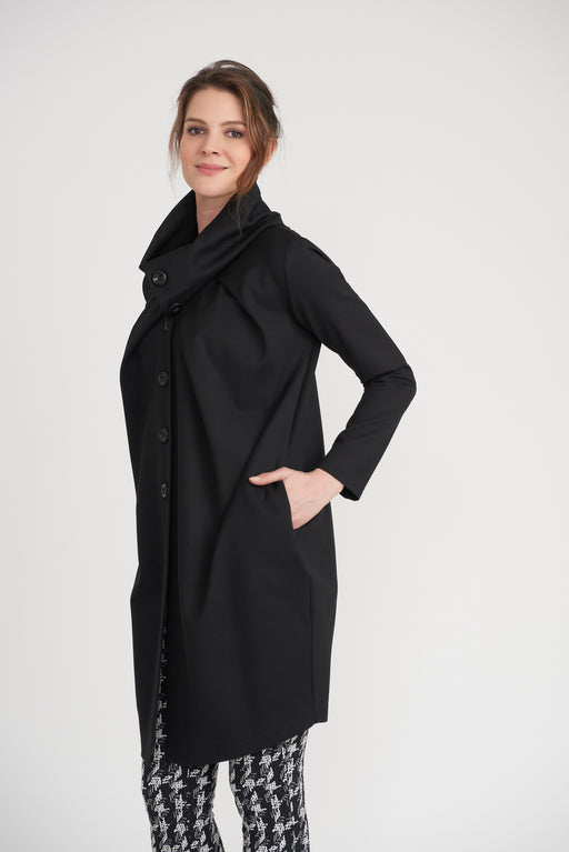 Joseph Ribkoff Style 203008 Black Long Sleeve Button-Down Coat
