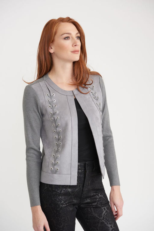 Joseph Ribkoff Style 203024 Grey Lace Front Detail Long Sleeve Open Front Jacket