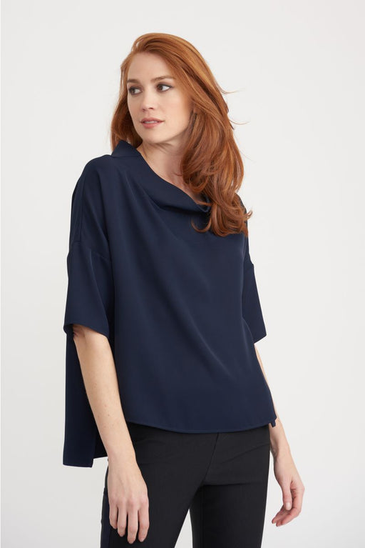 Joseph Ribkoff Style 203090 Midnight Blue Cowl Neck Boxy High-Low Hem Top