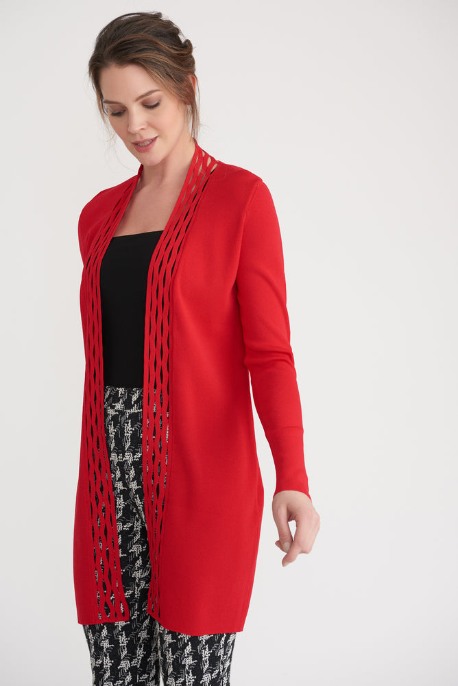 Joseph Ribkoff Style 203094 Lipstick Red Cutout Detail Open Front Long Sleeve Cardigan