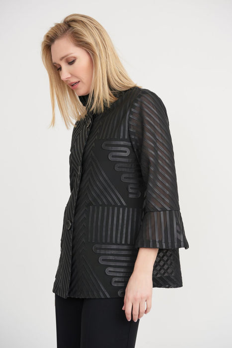 Joseph Ribkoff Style 203102 Black Geometric Pattern Bell Sleeve Semi-Sheer Cover-Up Jacket