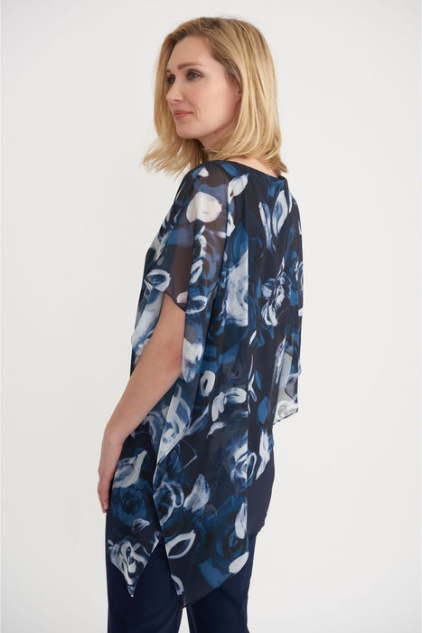 Joseph Ribkoff Midnight Blue/Multi Floral Print Sheer Overlay Asymmetric Top 203158 NEW