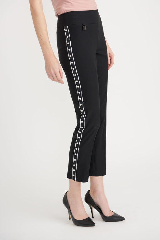 Joseph Ribkoff Black Side Stripe Pearl Detail Slip-On Cropped Pants 203174 NEW