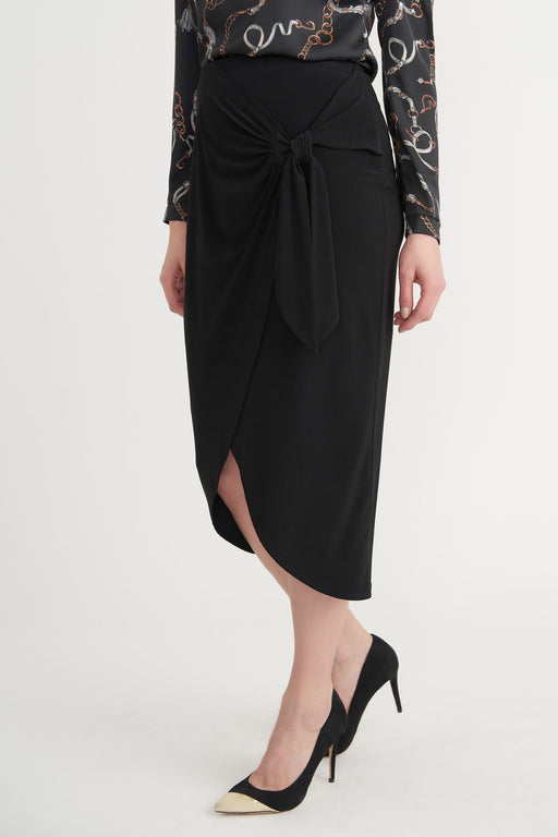 Joseph Ribkoff Style 203176 Black Bow Detail Tulip Hem Mock-Wrap Slip-On Midi Skirt