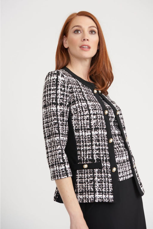 Joseph Ribkoff Style 203244 Black/White/Pink Crosshatch Button Detail Twin Set Jacket