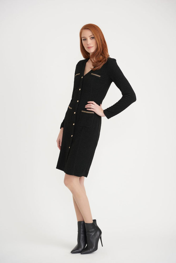 Joseph Ribkoff Style 203252 Black Chain Accent Button Detail Textured Sheath Dress