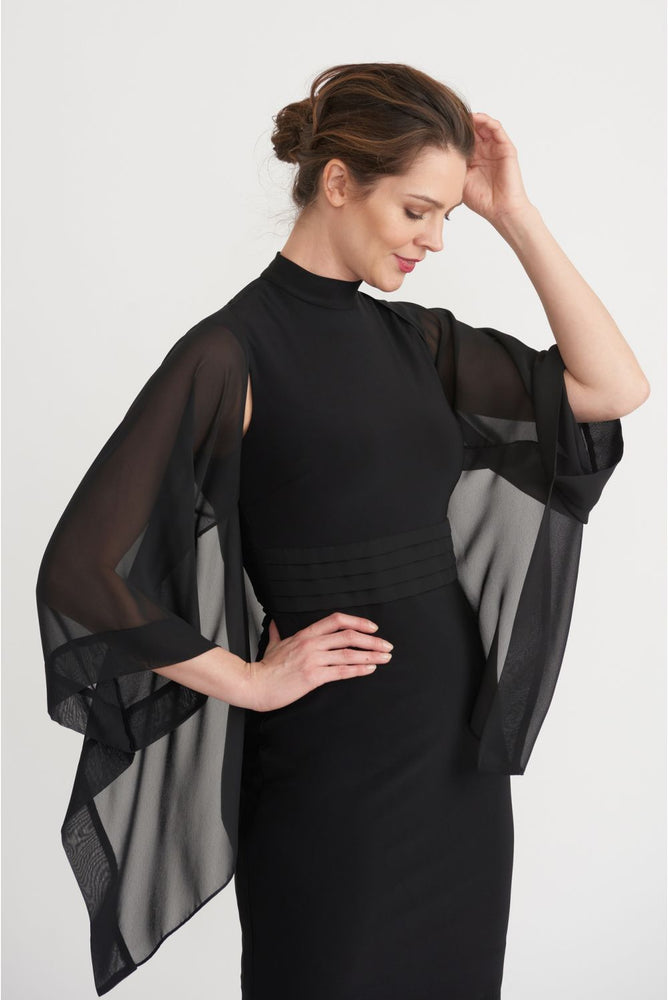 Joseph Ribkoff Black Sheer Open Front Cover-Up Jacket 203262 NEW