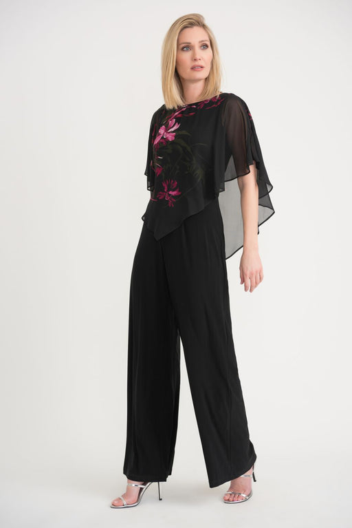 Joseph Ribkoff Style 203265 Black/Pink Floral Print Sheer Overlay Wide Leg Jumpsuit