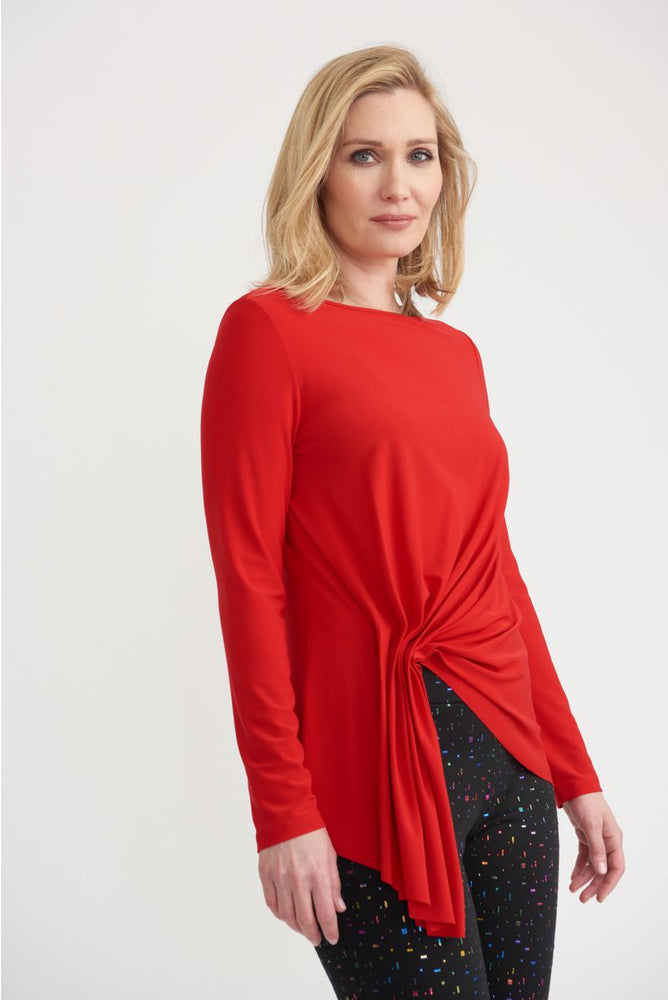 Joseph Ribkoff Style 203286 Lipstick Red Ruched Front Long Sleeve Top