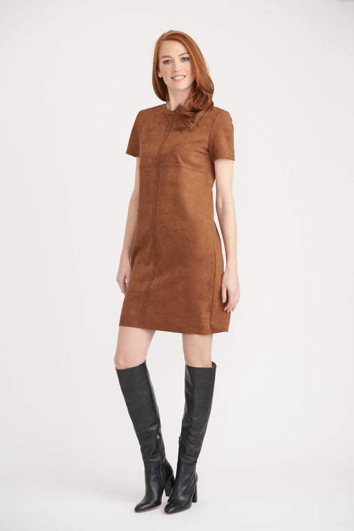 Joseph Ribkoff Style 203296 Brown Short Sleeve Faux Suede Mini Dress