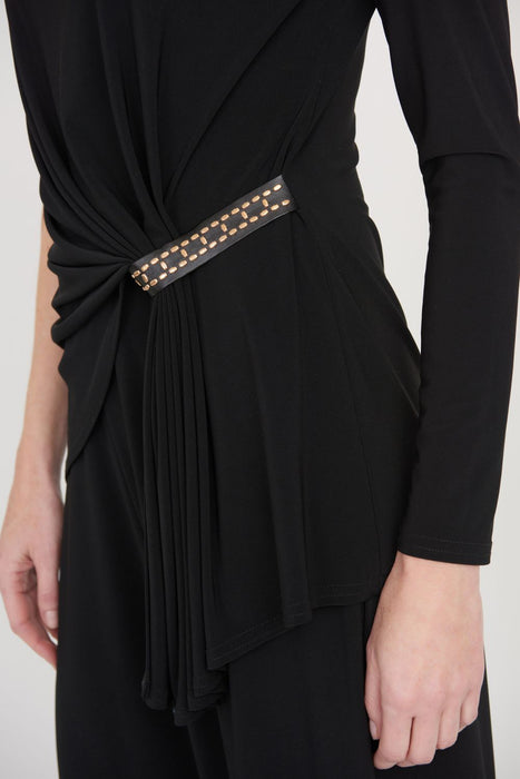 Joseph Ribkoff Black Studded One Shoulder Gathered Detail Jumpsuit 203310 NEW