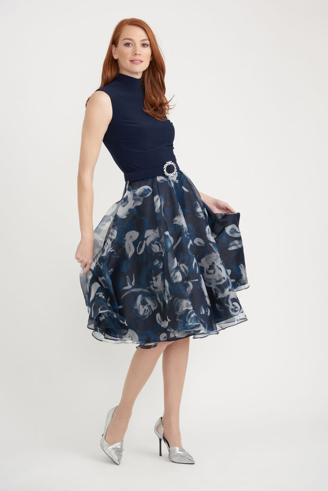 Joseph Ribkoff Style 203321 Midnight Blue/Multi Floral Print Sleeveless Fit And Flare Dress