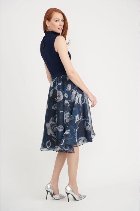 Joseph Ribkoff Midnight Blue/Multi Floral Print Sleeveless Fit And Flare Dress 203321 NEW