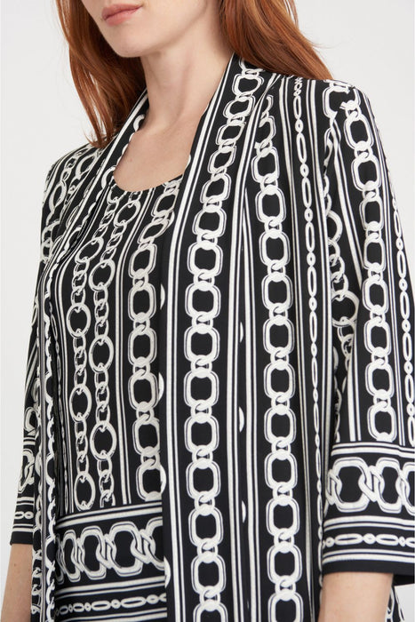 Joseph Ribkoff Black/Vanilla Chain Print 3/4 Sleeve Twin Set Jacket 203322 NEW