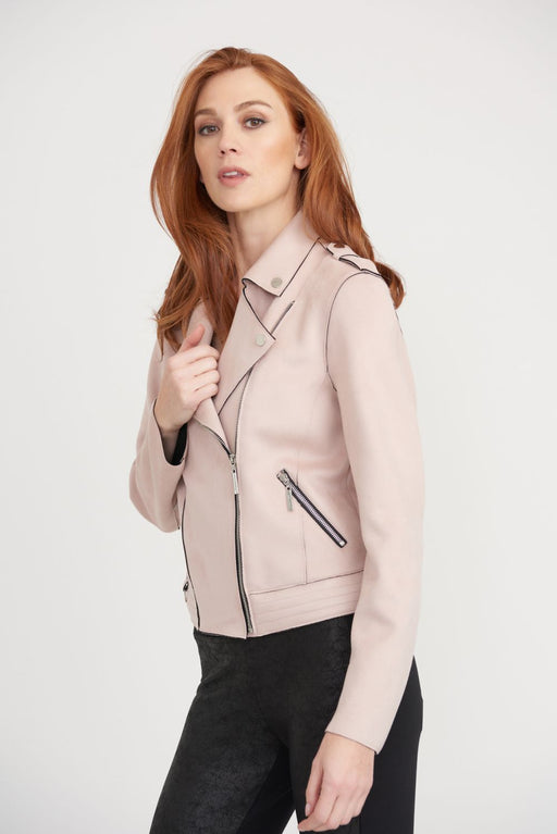 Joseph Ribkoff Style 203323 Winter Blush Faux Suede Zip-Up Biker Jacket