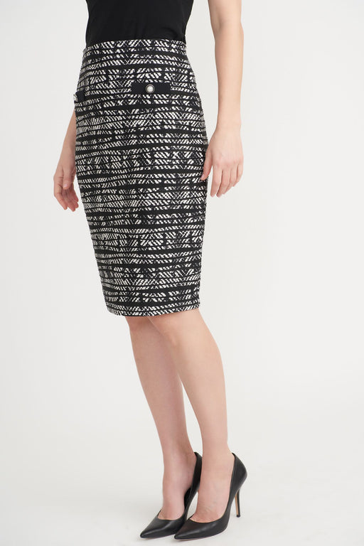 Joseph Ribkoff Style 203334 Black/Off-White Striped Pearl Detail Slip-On Pencil Skirt