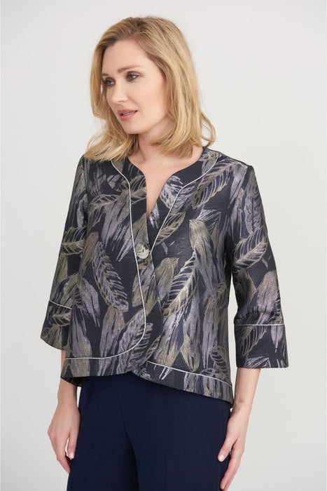 Joseph Ribkoff Style 203370 Navy/Silver Leaf Print High-Low Hem Cover-Up Jacket
