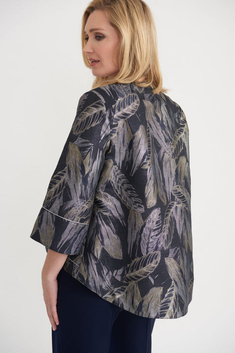 Joseph Ribkoff Navy/Silver Leaf Print High-Low Hem Cover-Up Jacket 203370 NEW