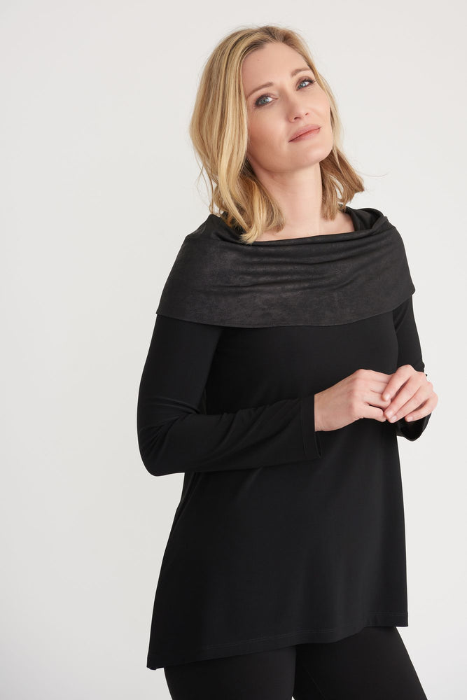 Joseph Ribkoff Style 203391 Black Faux Leather-Like Draped Overlay Long Sleeve Top
