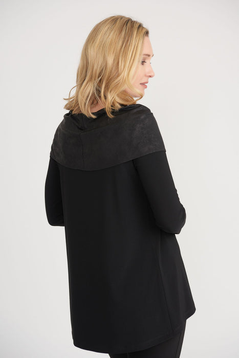 Joseph Ribkoff Black Faux Leather-Like Draped Overlay Long Sleeve Top 203391 NEW