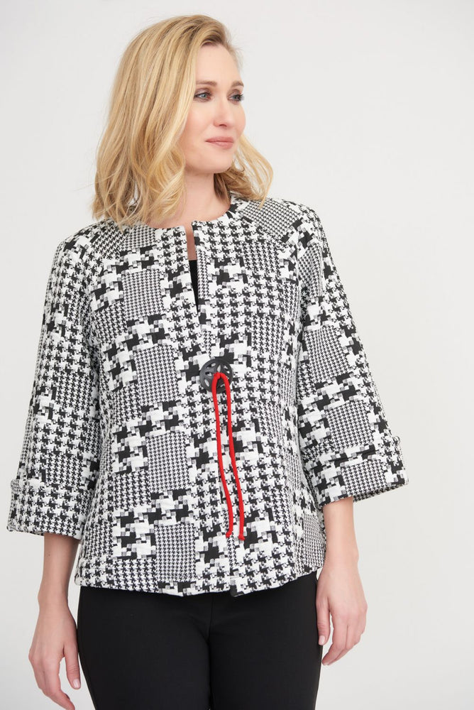 Joseph Ribkoff Style 203402 Black/Off-White/Lipstick Red Houndstooth Print Cover-Up Jacket