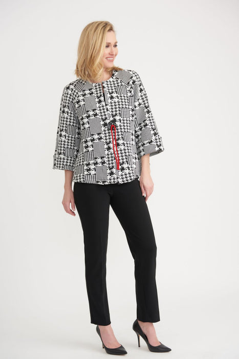 Joseph Ribkoff Black/Off-White/Lipstick Red Houndstooth Print Cover-Up Jacket 203402 NEW
