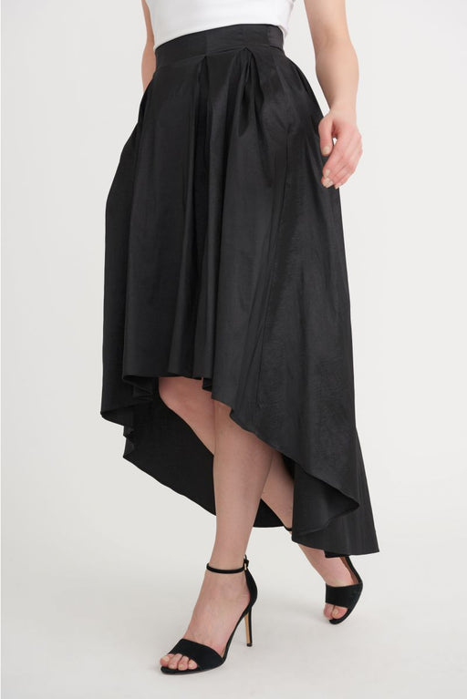 Joseph Ribkoff Style 203409 Black Pleated High-Low Hem Taffeta Skirt