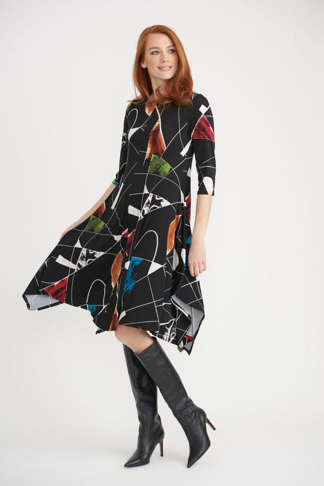 Joseph Ribkoff Style 203426 Black/Multi Geometric Print Half Sleeve A-Line Dress