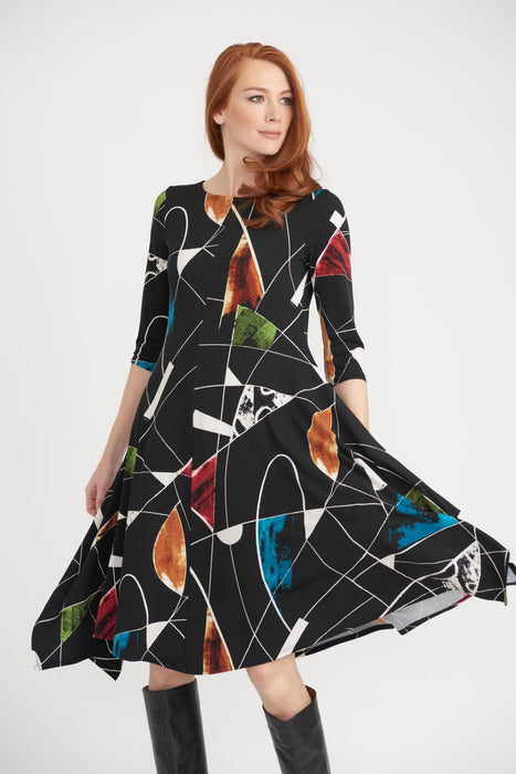 Joseph Ribkoff Black/Multi Geometric Print Half Sleeve A-Line Dress 203426 NEW