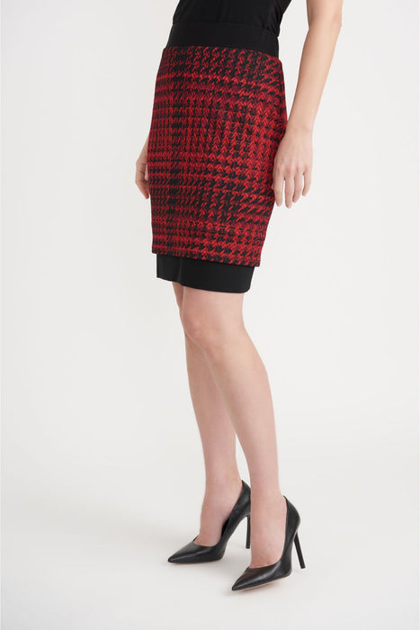 Joseph Ribkoff Style 203457 Black/Red Houndstooth Layered Slip-On Pencil Skirt