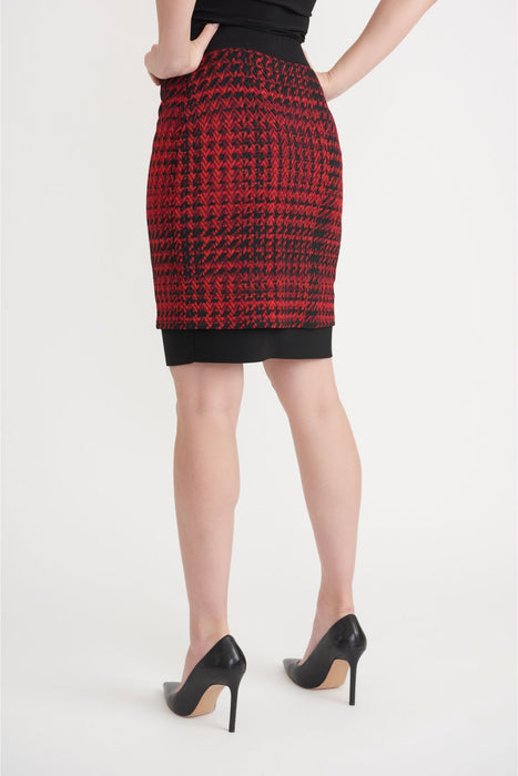 Joseph Ribkoff Black/Red Houndstooth Layered Slip-On Pencil Skirt 203457 NEW