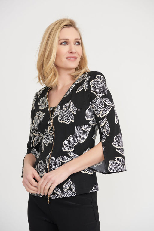 Joseph Ribkoff Style 203507 Black/Vanilla Floral Print Zip-Up Twin Set Jacket