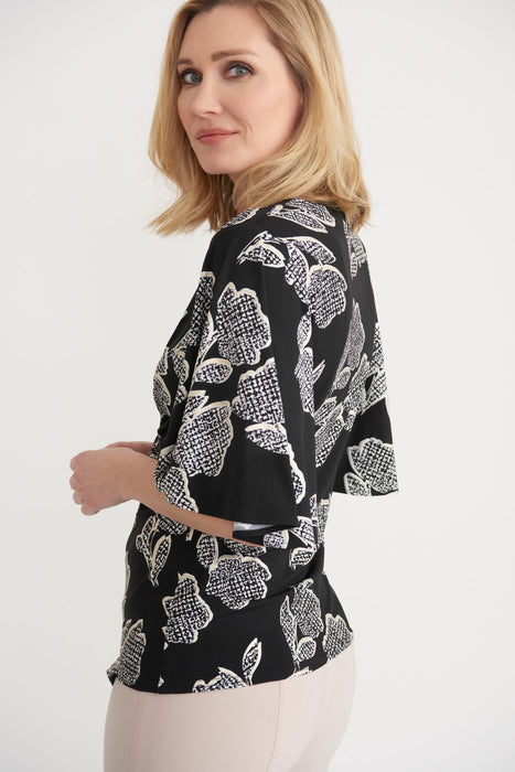 Joseph Ribkoff Black/Vanilla Ruched Floral Print Flutter Sleeve Top 203508 NEW